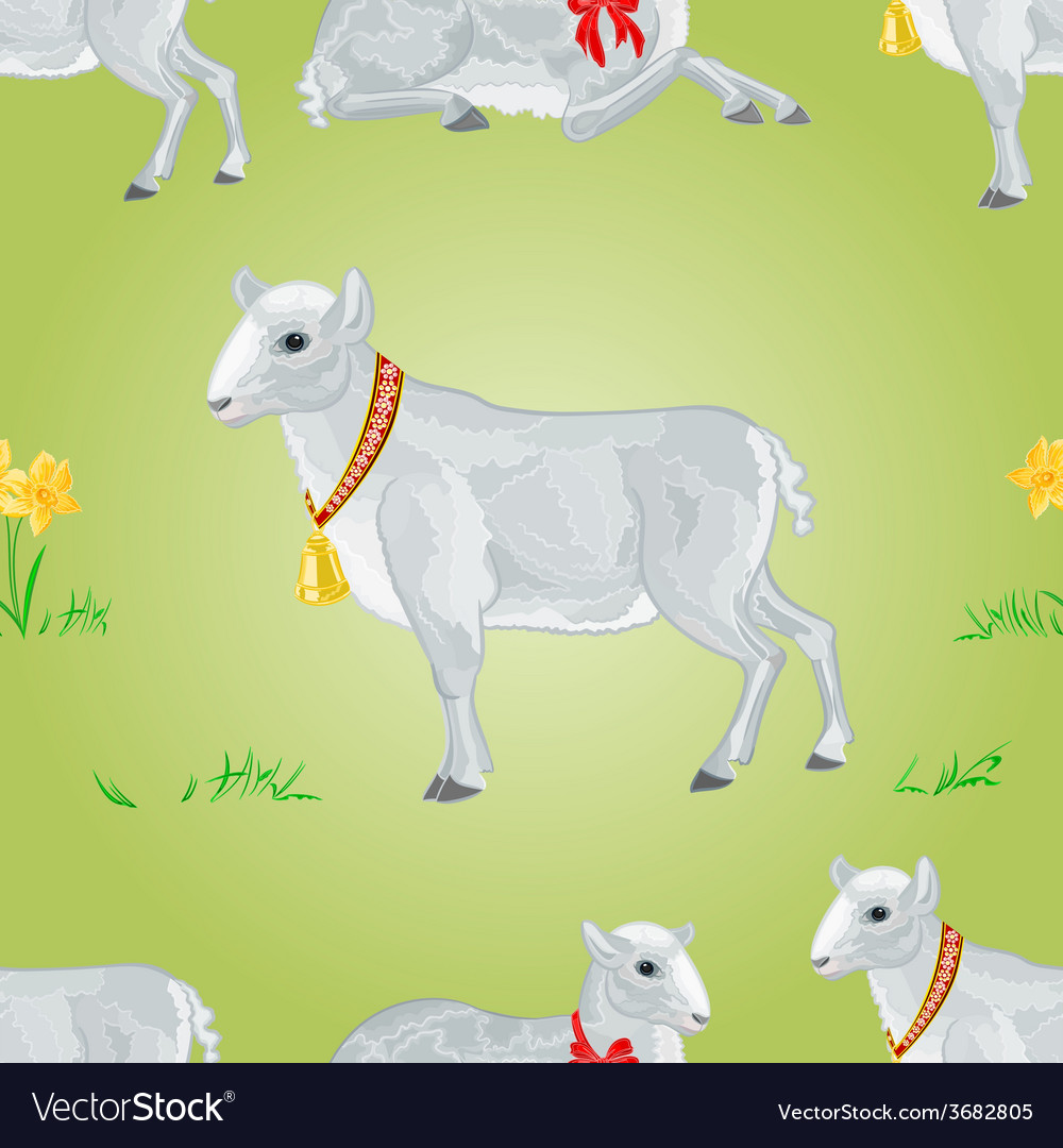 Easter lamb and daffodil seamless texture vector | Price: 1 Credit (USD $1)