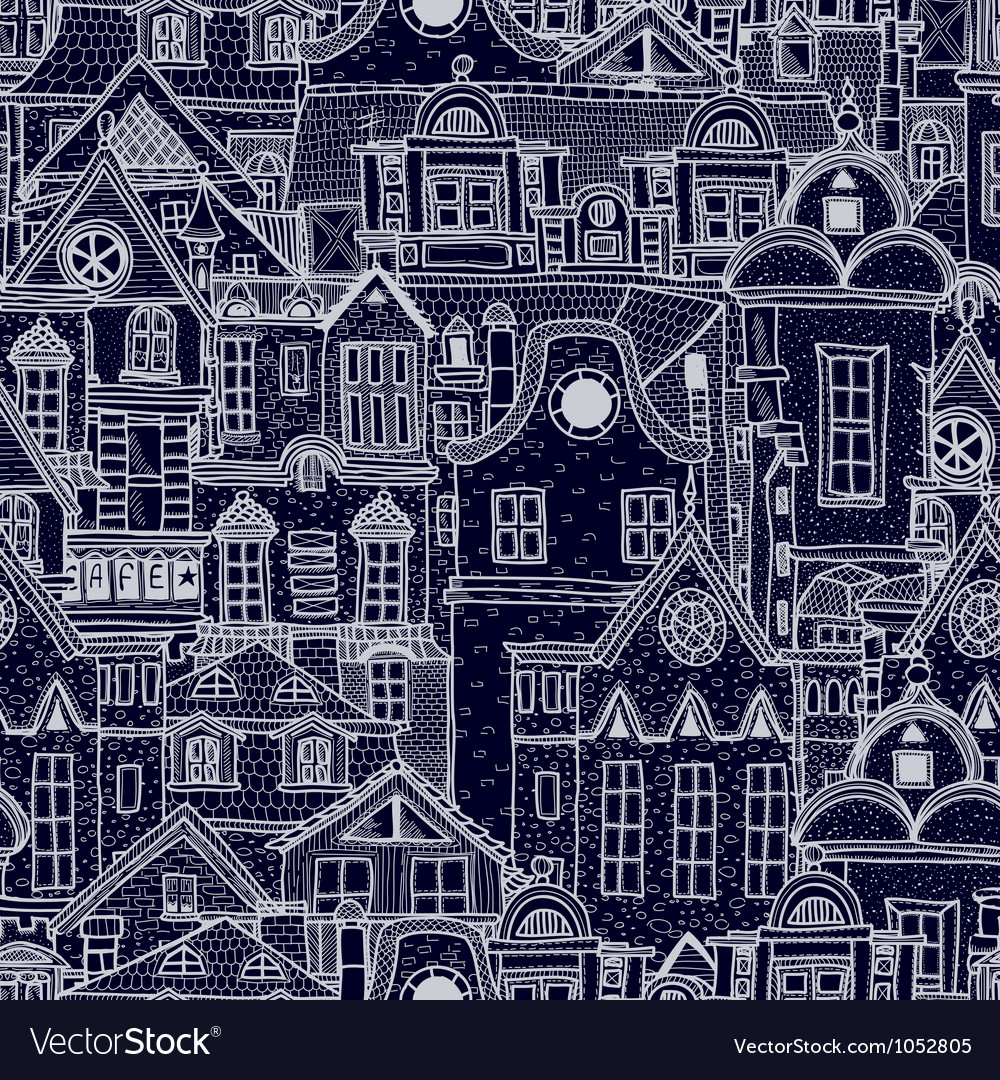 Handdrawn seamless pattern with old town vector