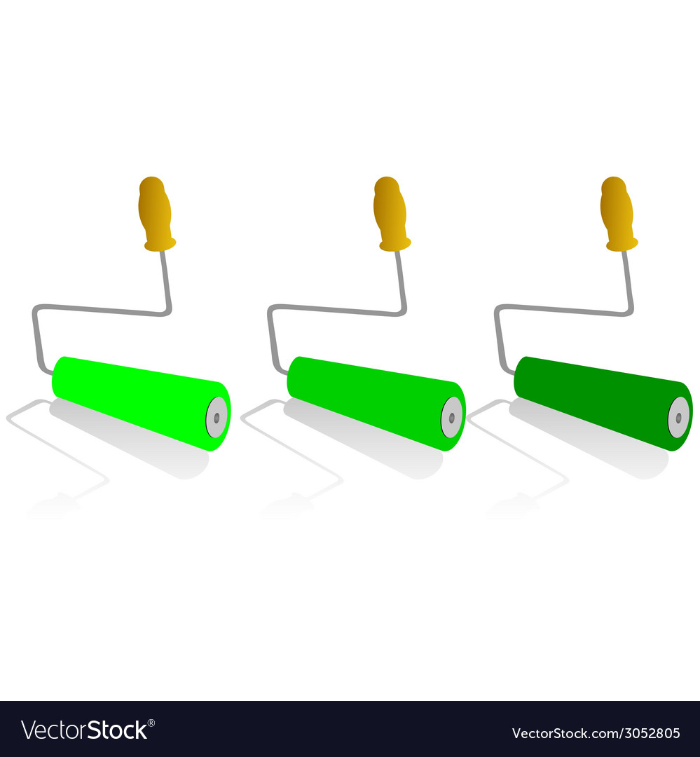 Roller for painting in green color vector | Price: 1 Credit (USD $1)