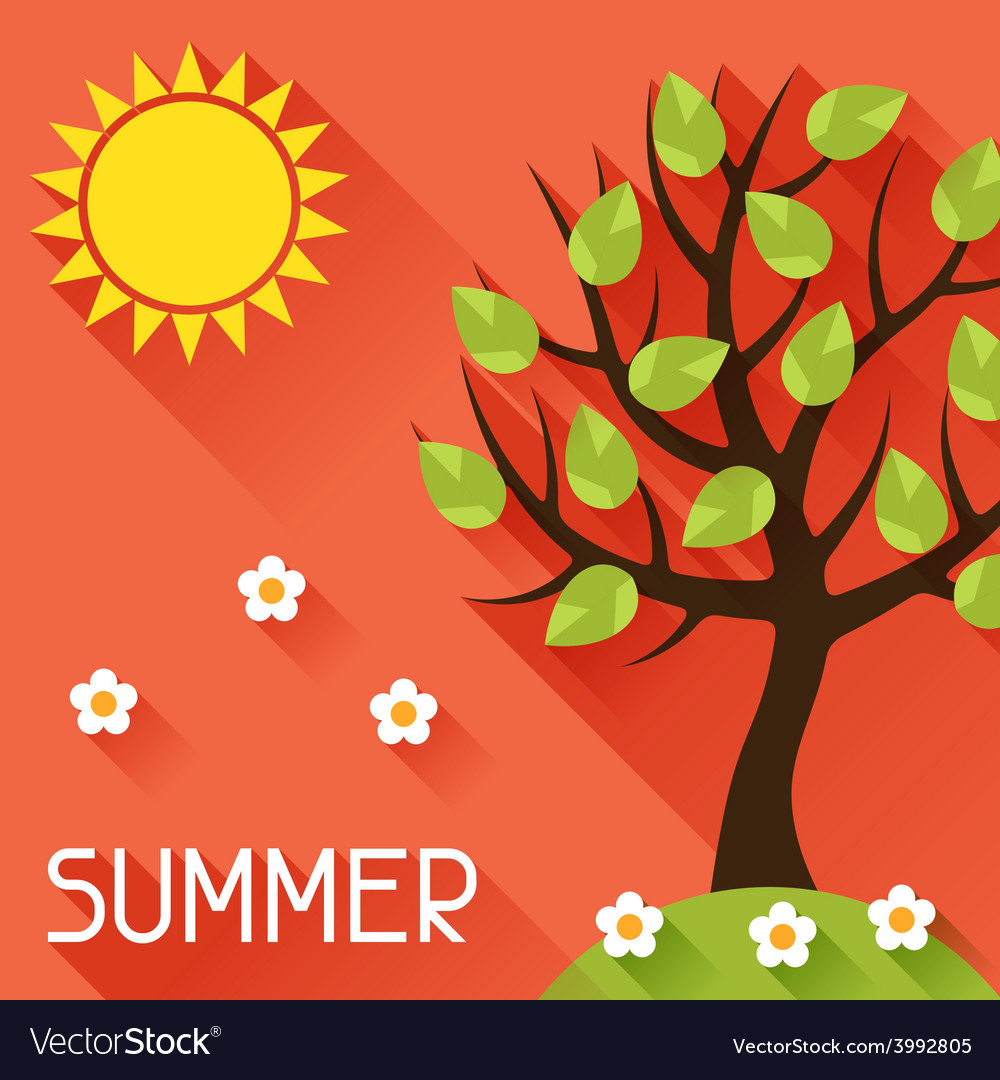 Seasonal with summer tree in flat vector   Price: 1 Credit (USD $1)