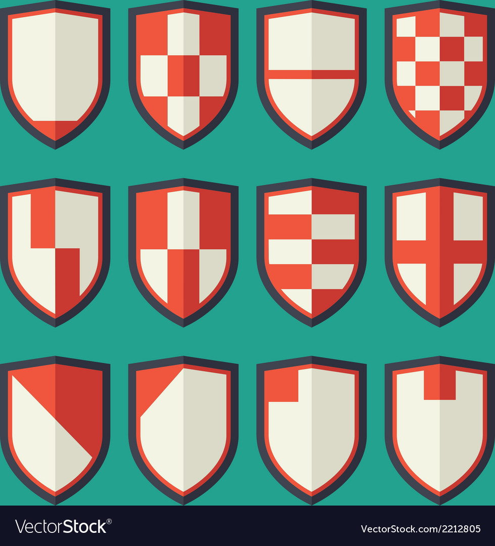 Set of shields red vector | Price: 1 Credit (USD $1)