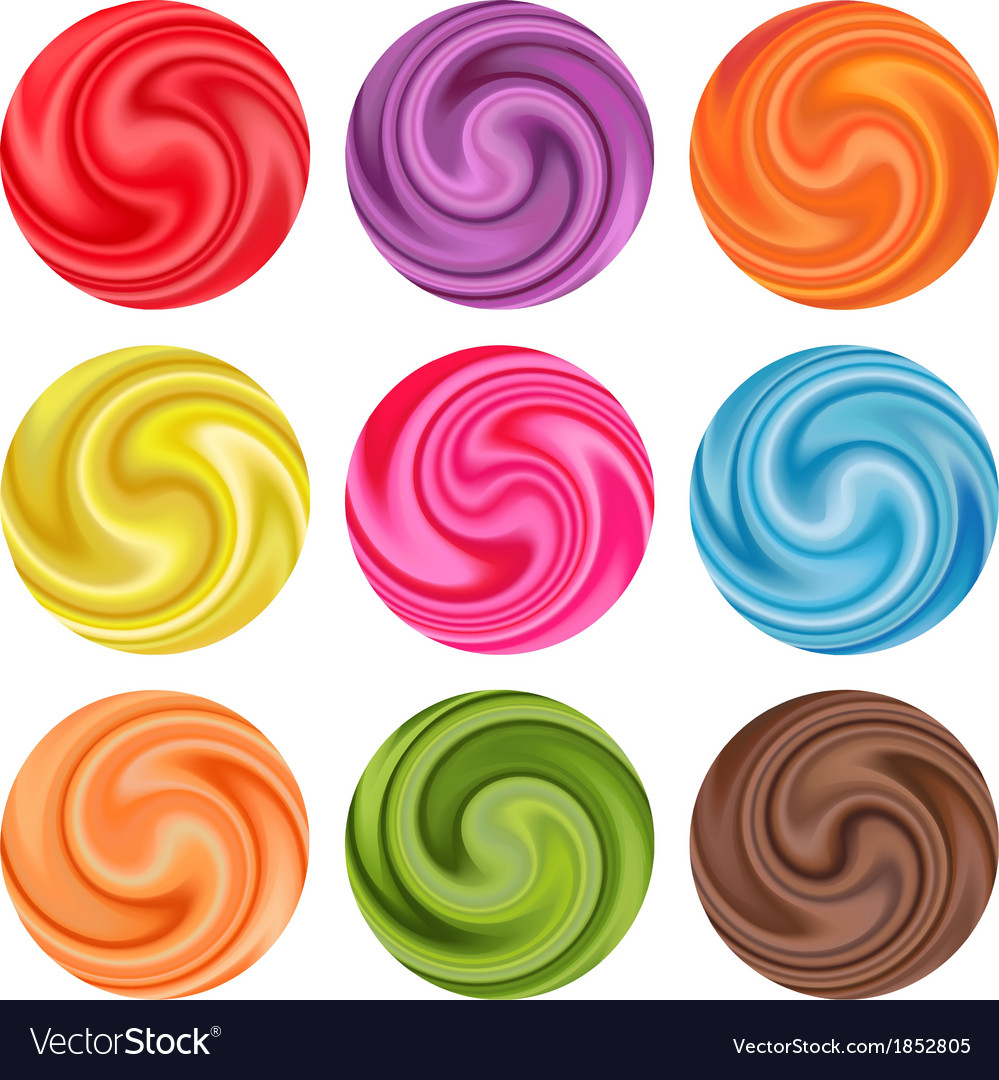 Set of yogurt cream curl or lollipop vector | Price: 1 Credit (USD $1)