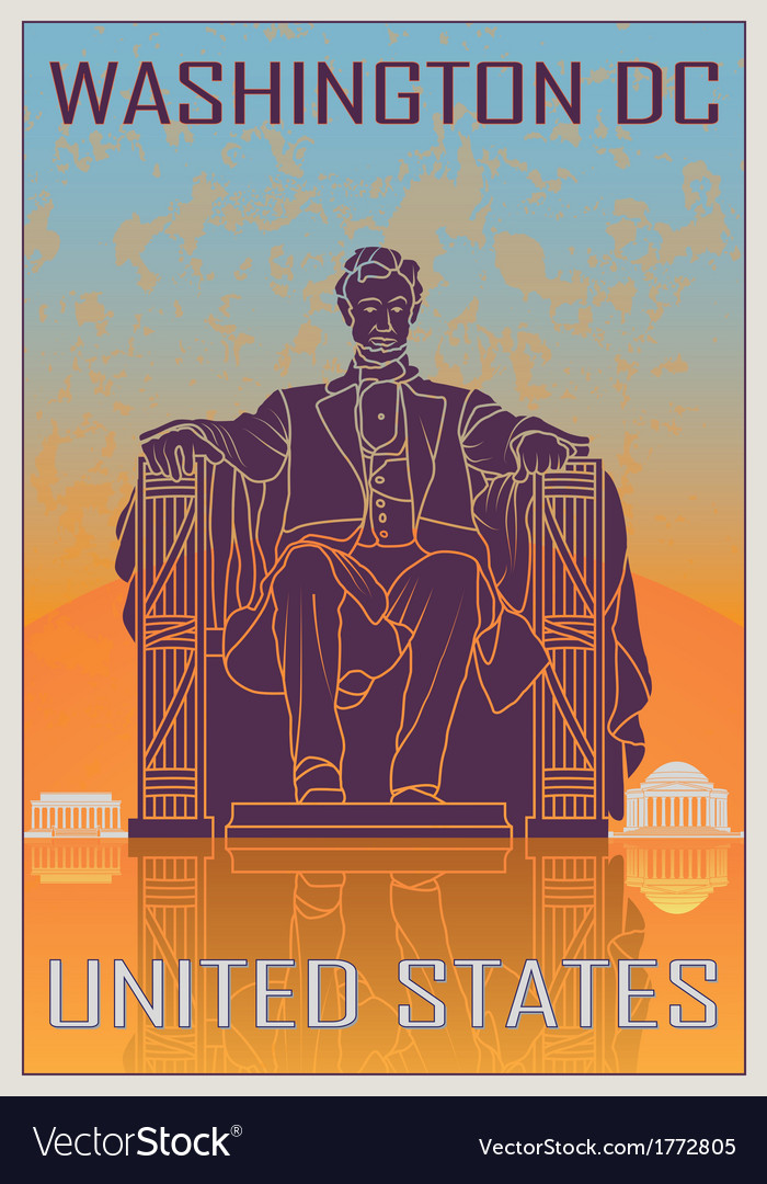 Washington dc vintage poster vector | Price: 1 Credit (USD $1)