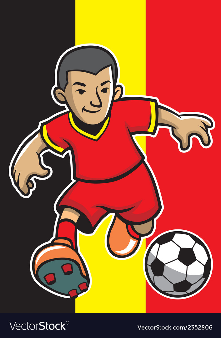 Belgium soccer player with flag background vector | Price: 1 Credit (USD $1)