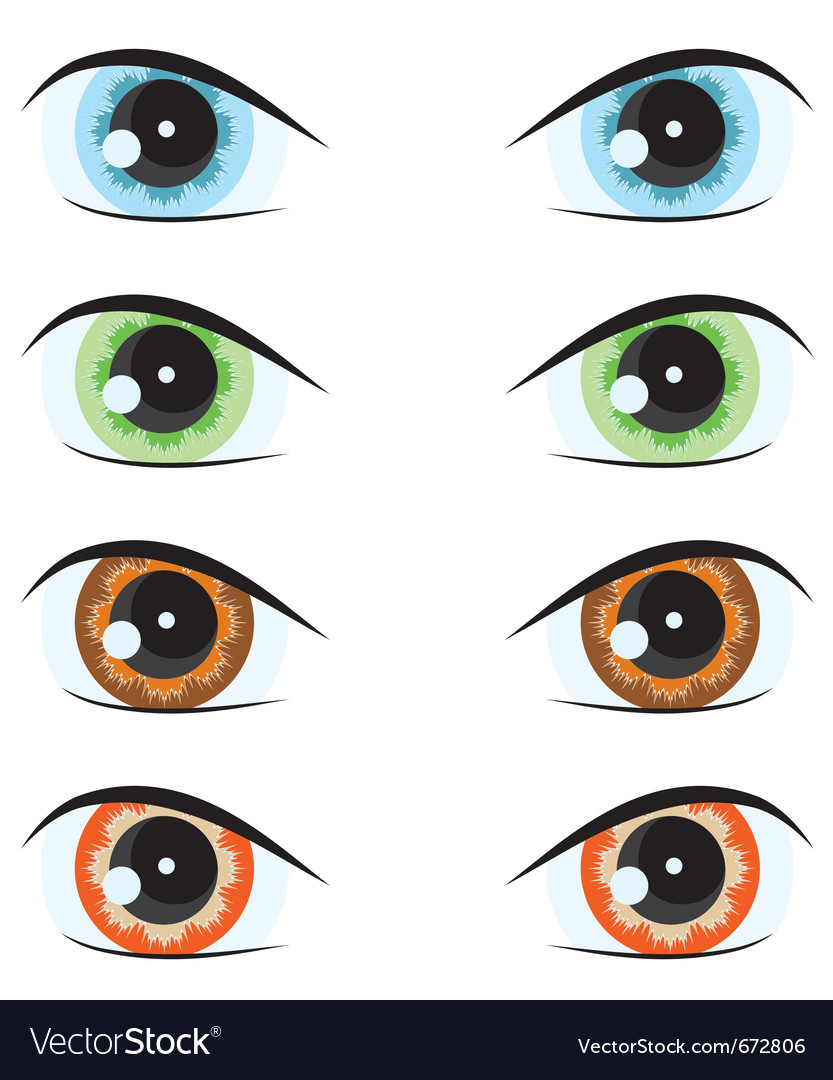 Cartoon eyes of different colors set for the desig vector | Price: 1 Credit (USD $1)