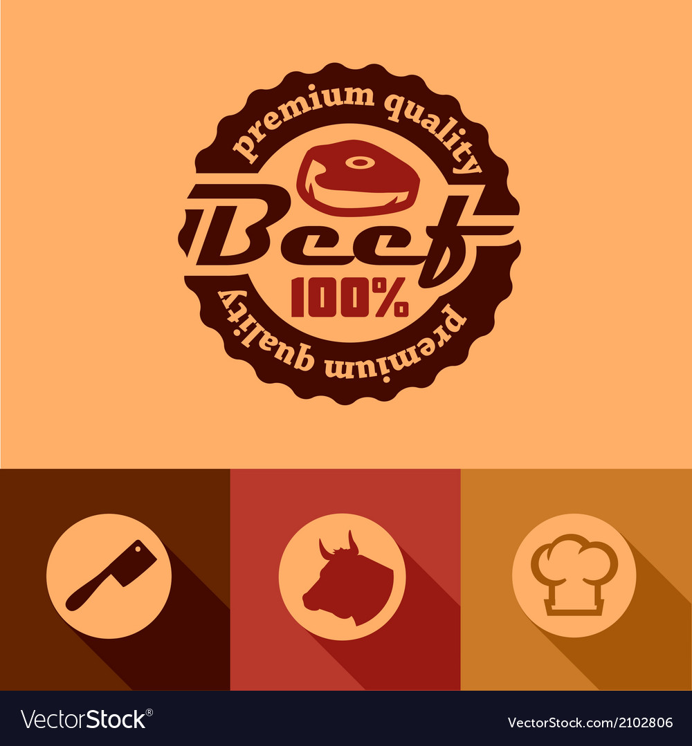 Flat beef labels vector | Price: 1 Credit (USD $1)