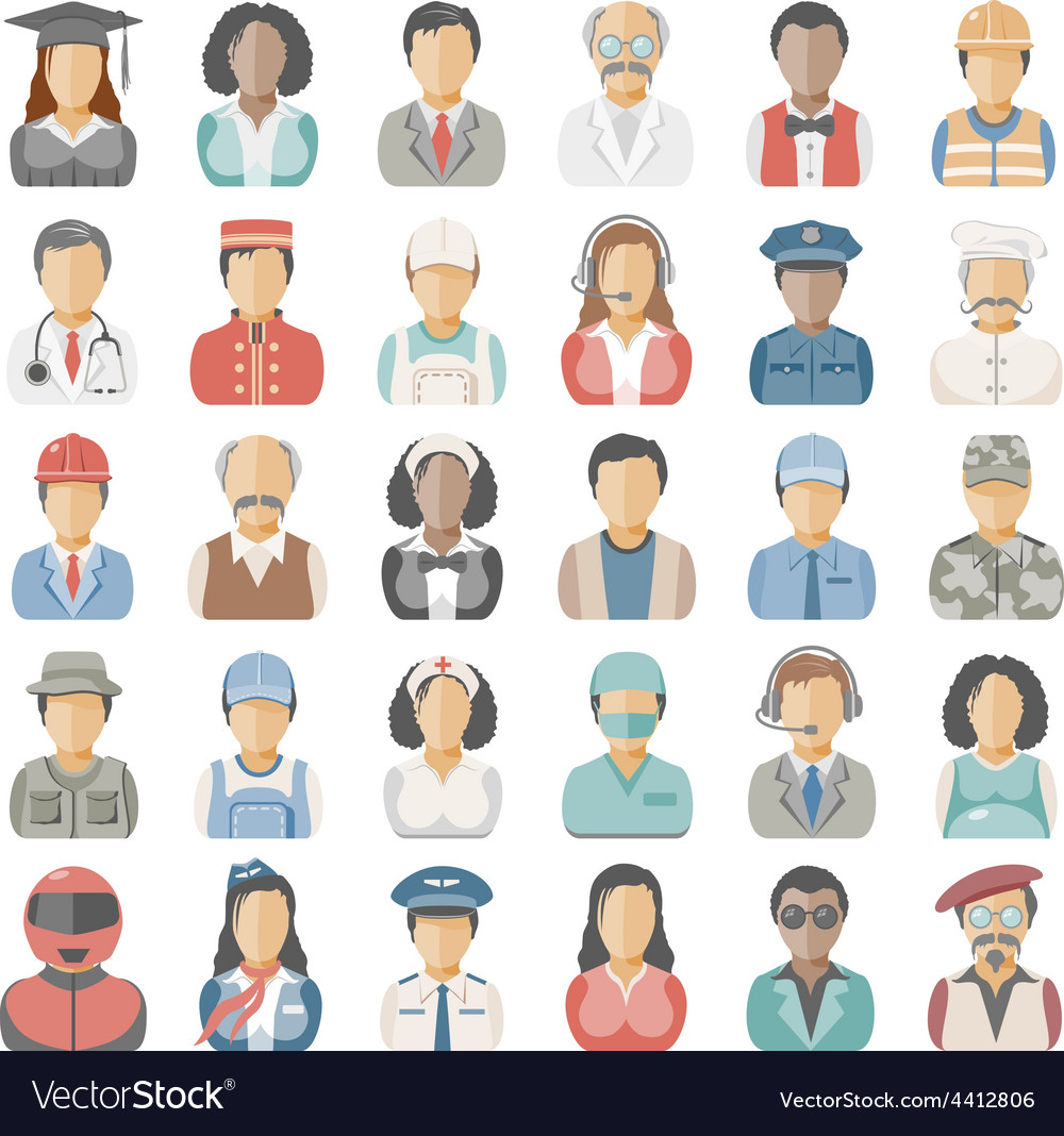 Flat icons people vector | Price: 3 Credit (USD $3)