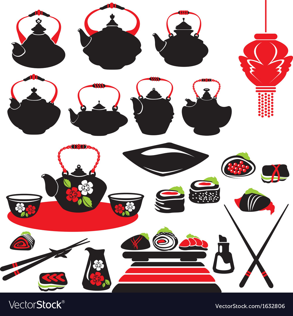 Set of asian food icons - teapot sushi vector | Price: 1 Credit (USD $1)
