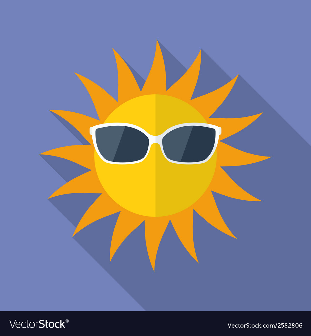 Sun with glasses icon modern flat style with a vector | Price: 1 Credit (USD $1)