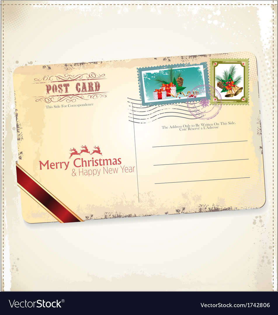 Vintage christmas postcard vector | Price: 1 Credit (USD $1)