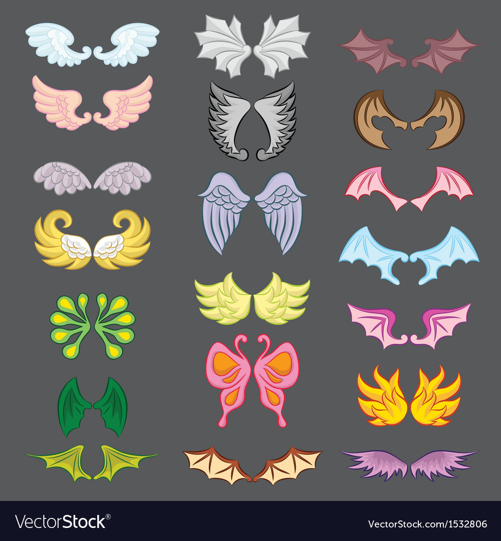 Wings cute collection part iii vector | Price: 1 Credit (USD $1)