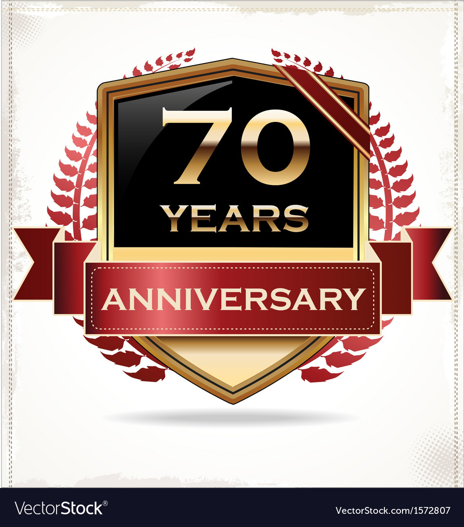 70 years anniversary golden label vector | Price: 3 Credit (USD $3)
