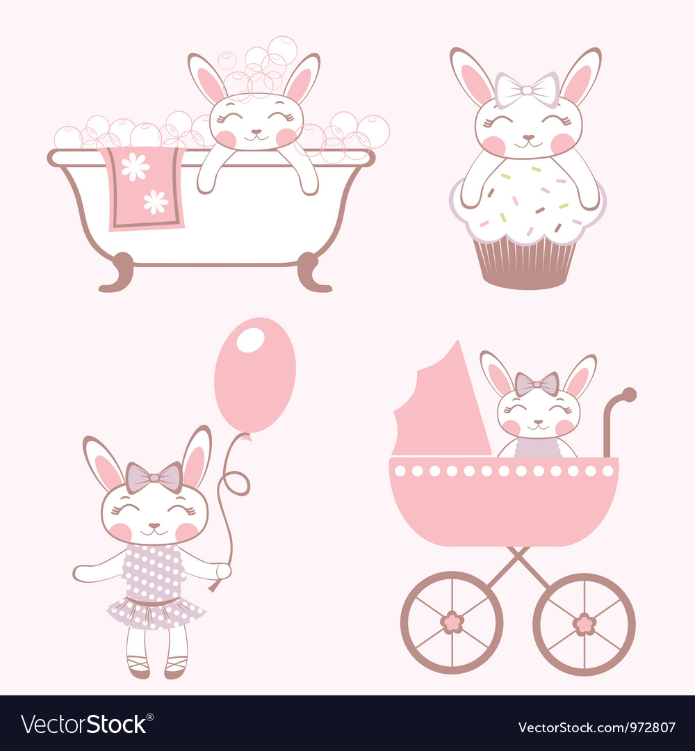 Baby bunnies collection vector