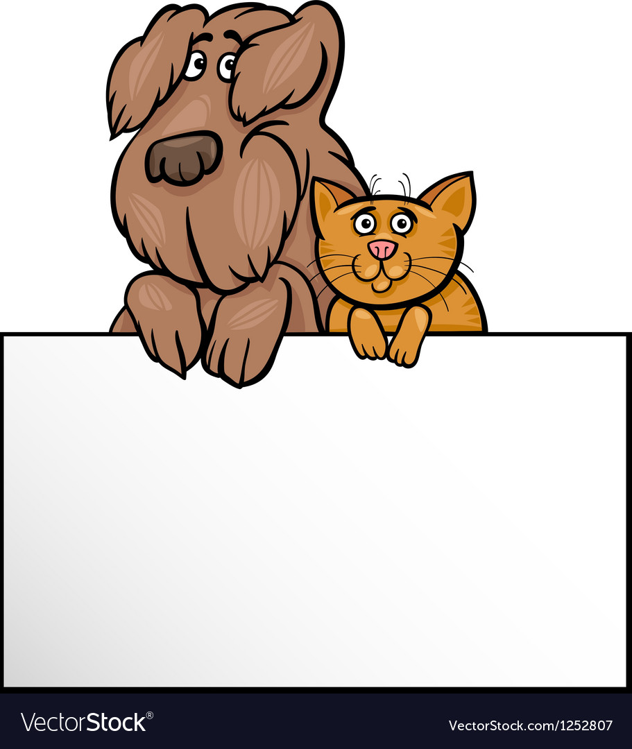 Cat and dog with card cartoon design vector | Price: 1 Credit (USD $1)