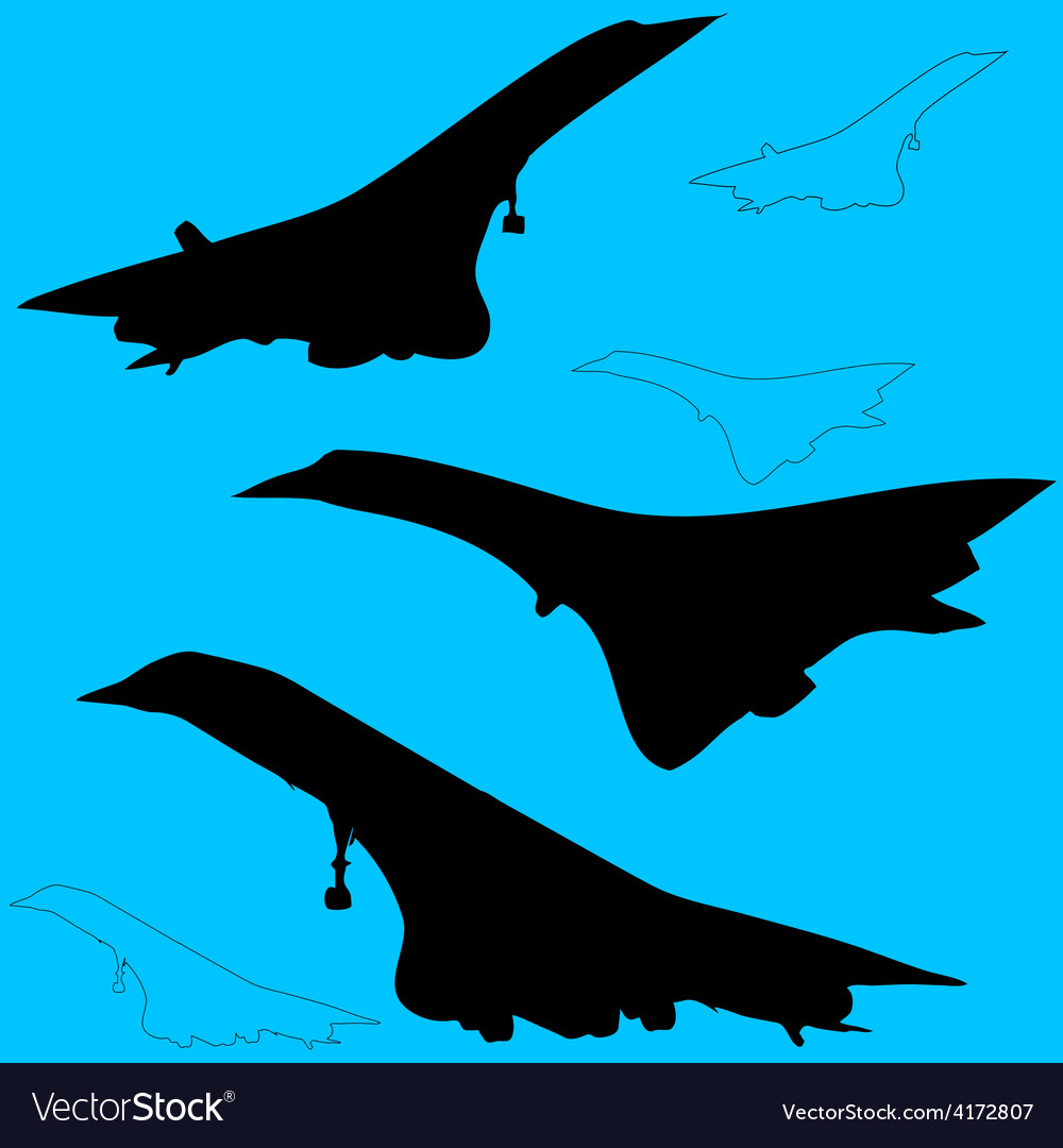 Concord aircraft silhouettes vector | Price: 1 Credit (USD $1)