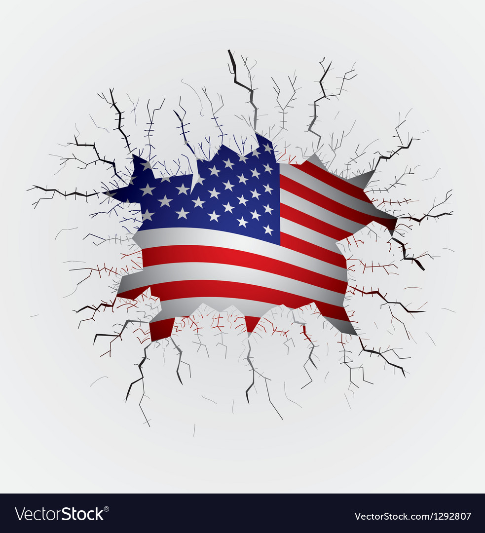 Cracked plaster with usa flag vector
