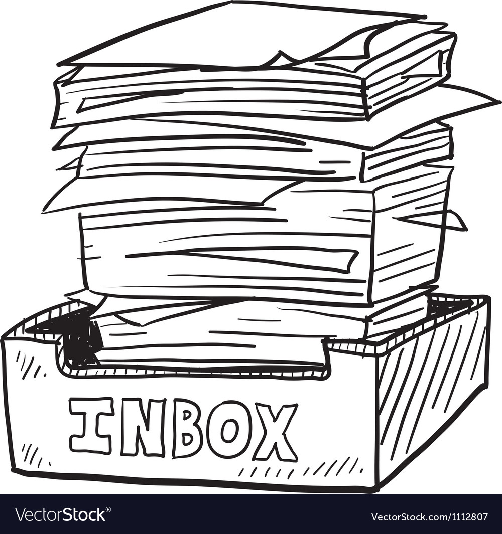 Doodle paper stack inbox vector | Price: 1 Credit (USD $1)