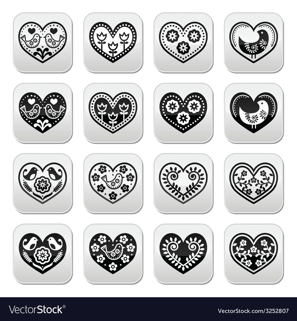 Folk hearts with flowers and birds buttons set vector