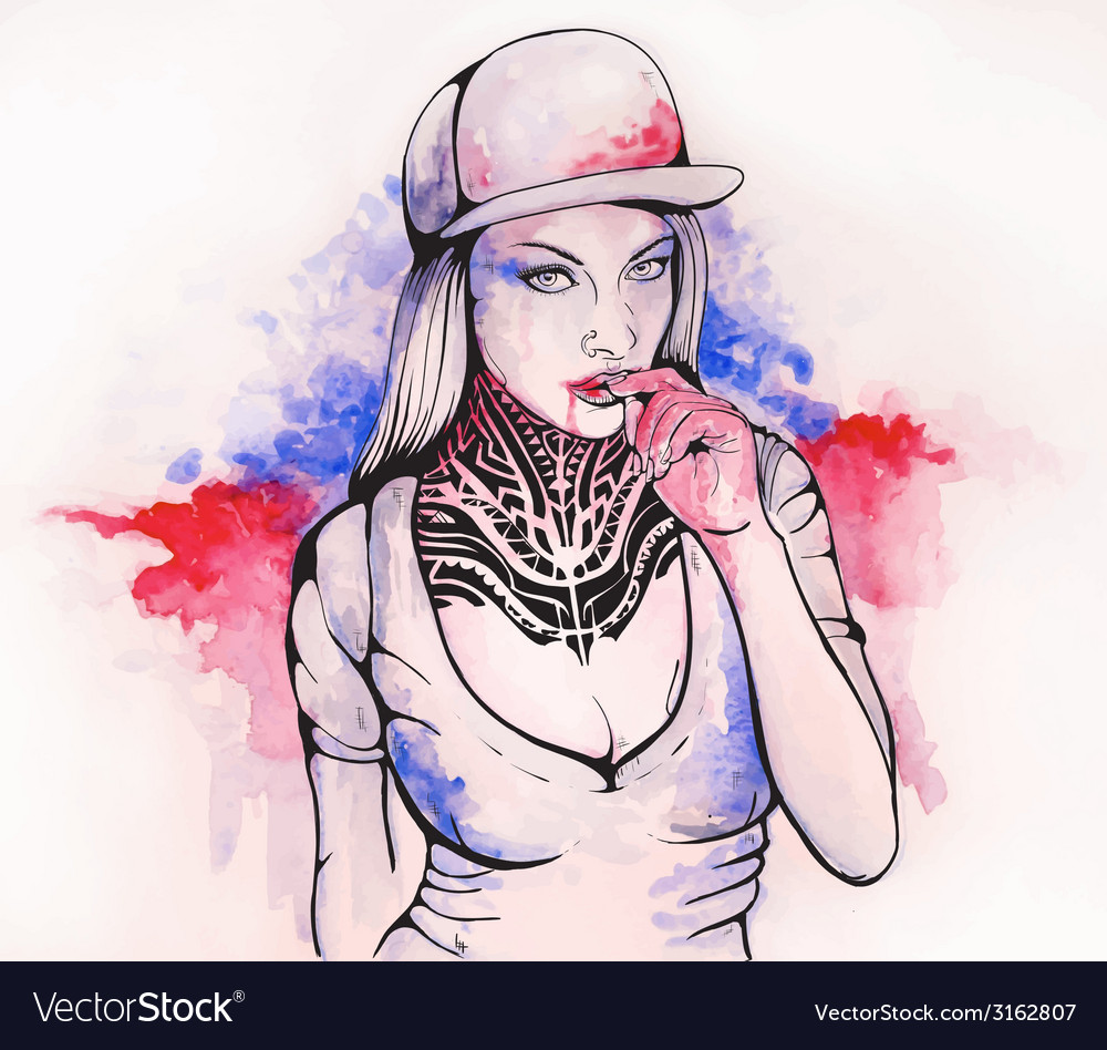 Girl in a cap and tattoos vector | Price: 1 Credit (USD $1)