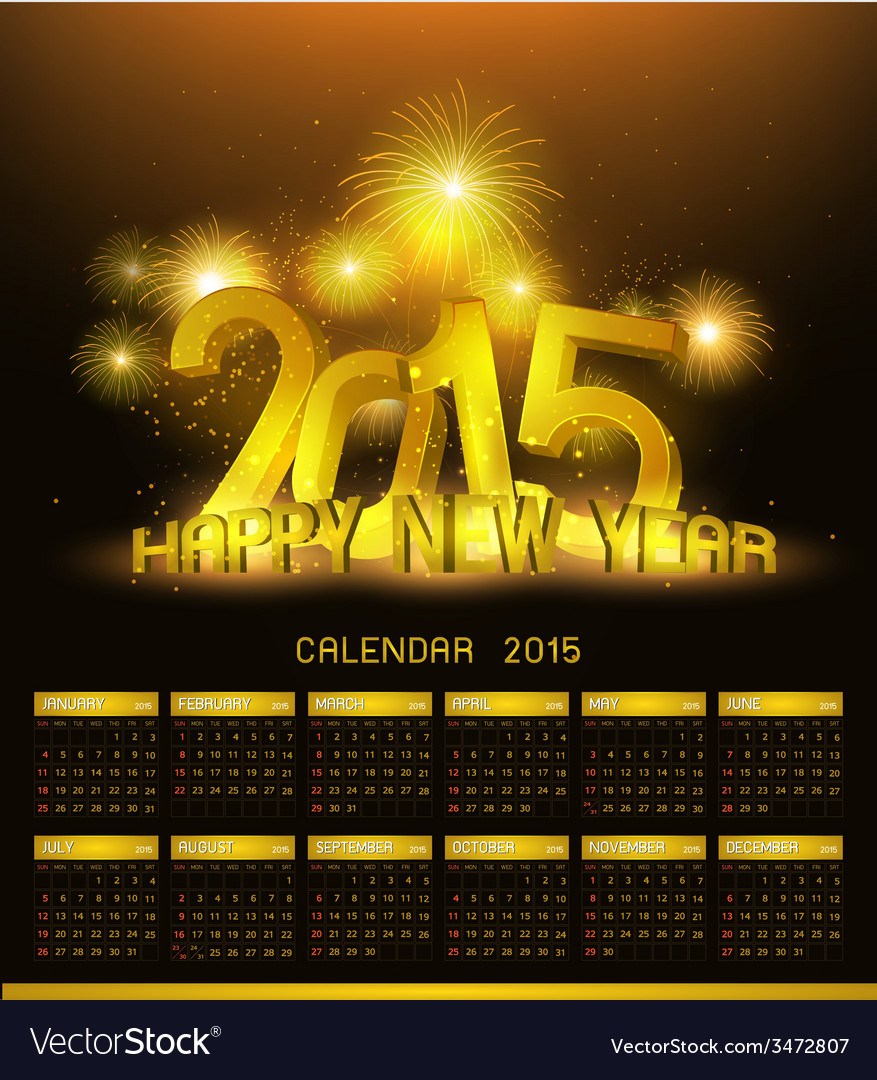 Gold platinum calendar 2015 and happy new year vector | Price: 1 Credit (USD $1)