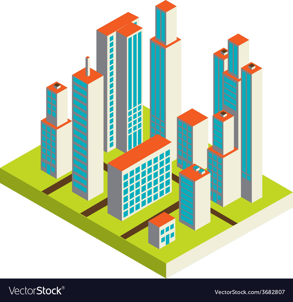 Isometric city center on the map with lots of vector   Price: 1 Credit (USD $1)