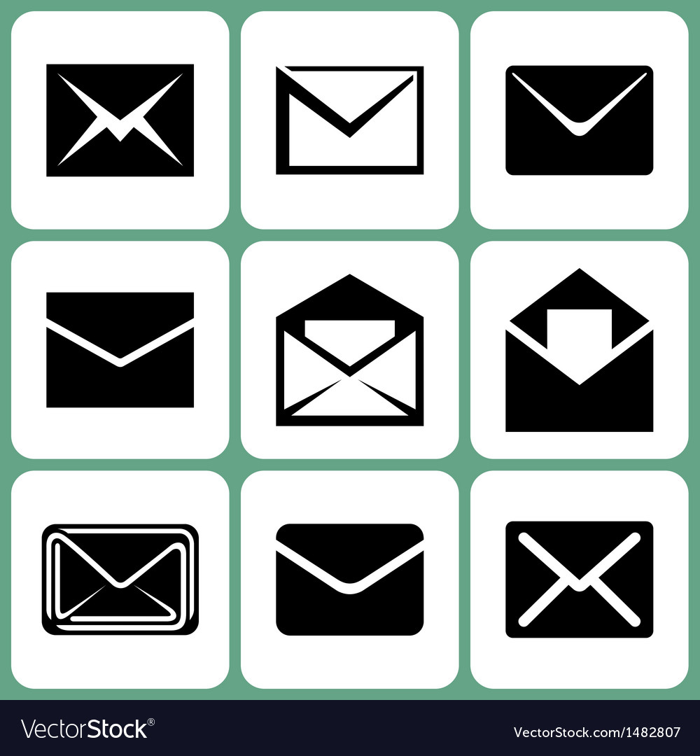 Mail envelope icons set vector