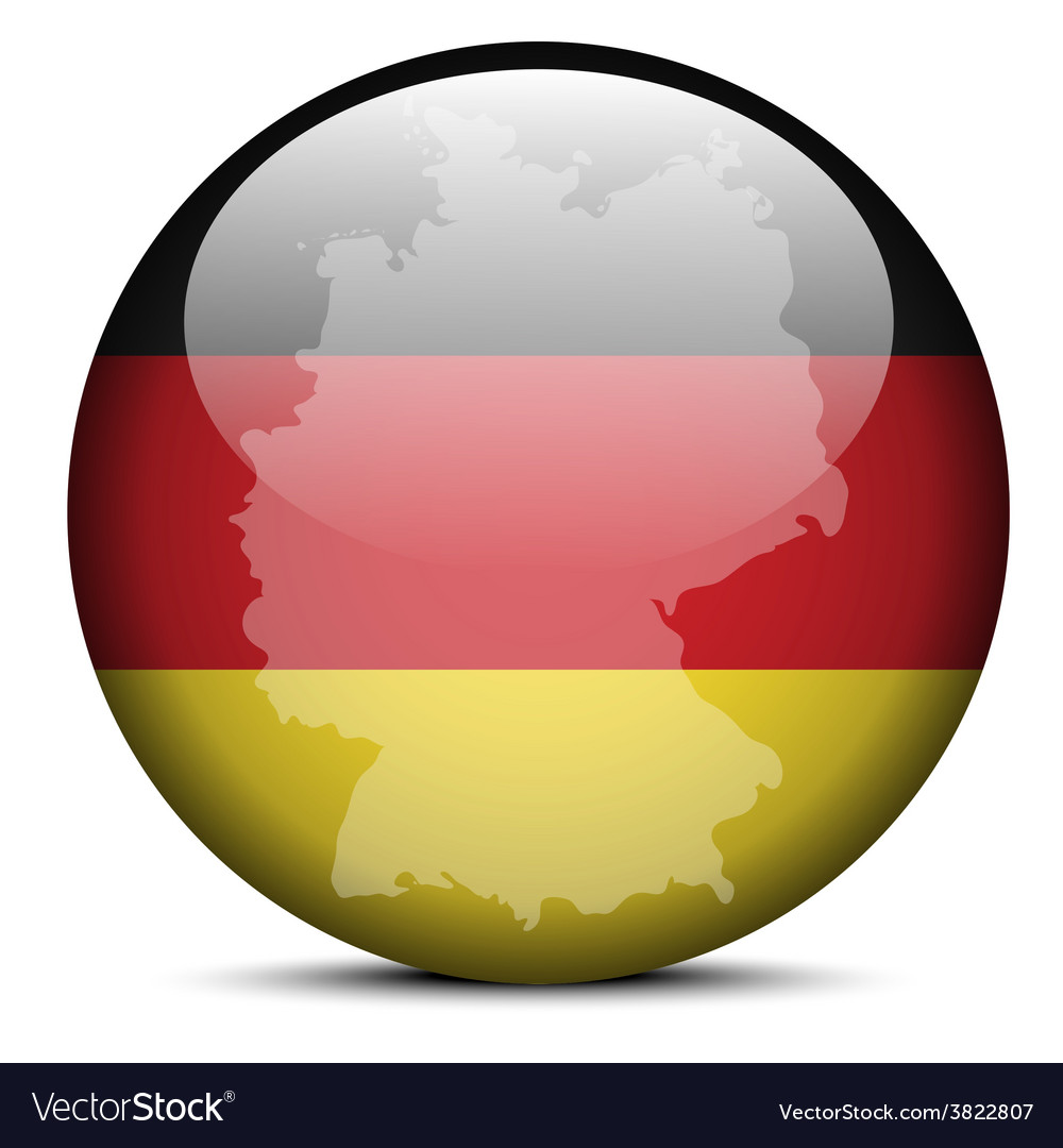 Map on flag button of federal republic of germany vector | Price: 1 Credit (USD $1)