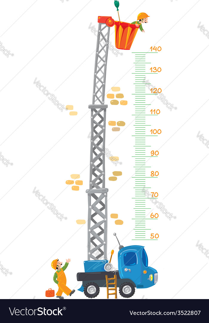 Meter wall with two funny workers and machine-lift vector | Price: 1 Credit (USD $1)