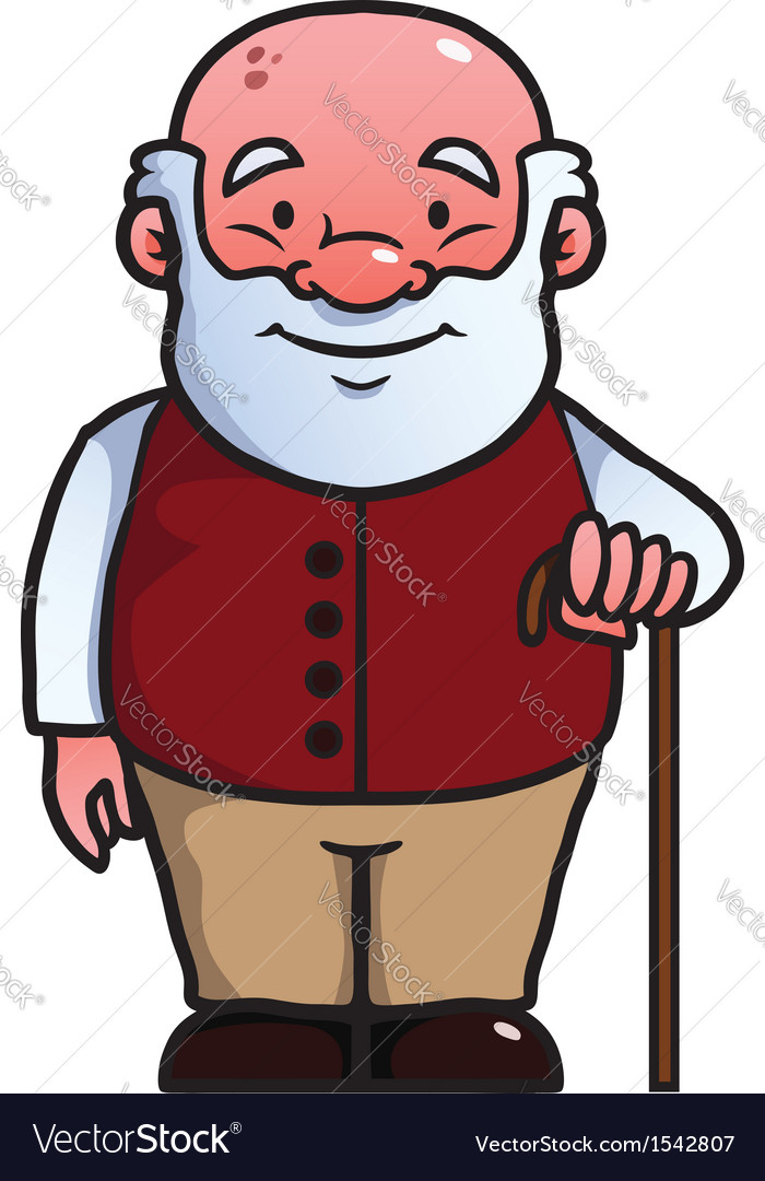 Old man holding a cane vector | Price: 1 Credit (USD $1)