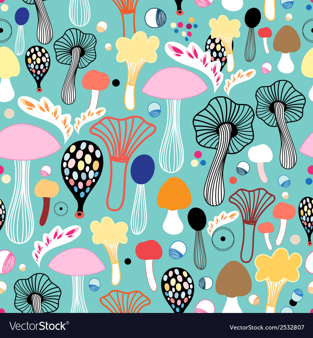 Pattern of colorful mushrooms vector | Price: 1 Credit (USD $1)