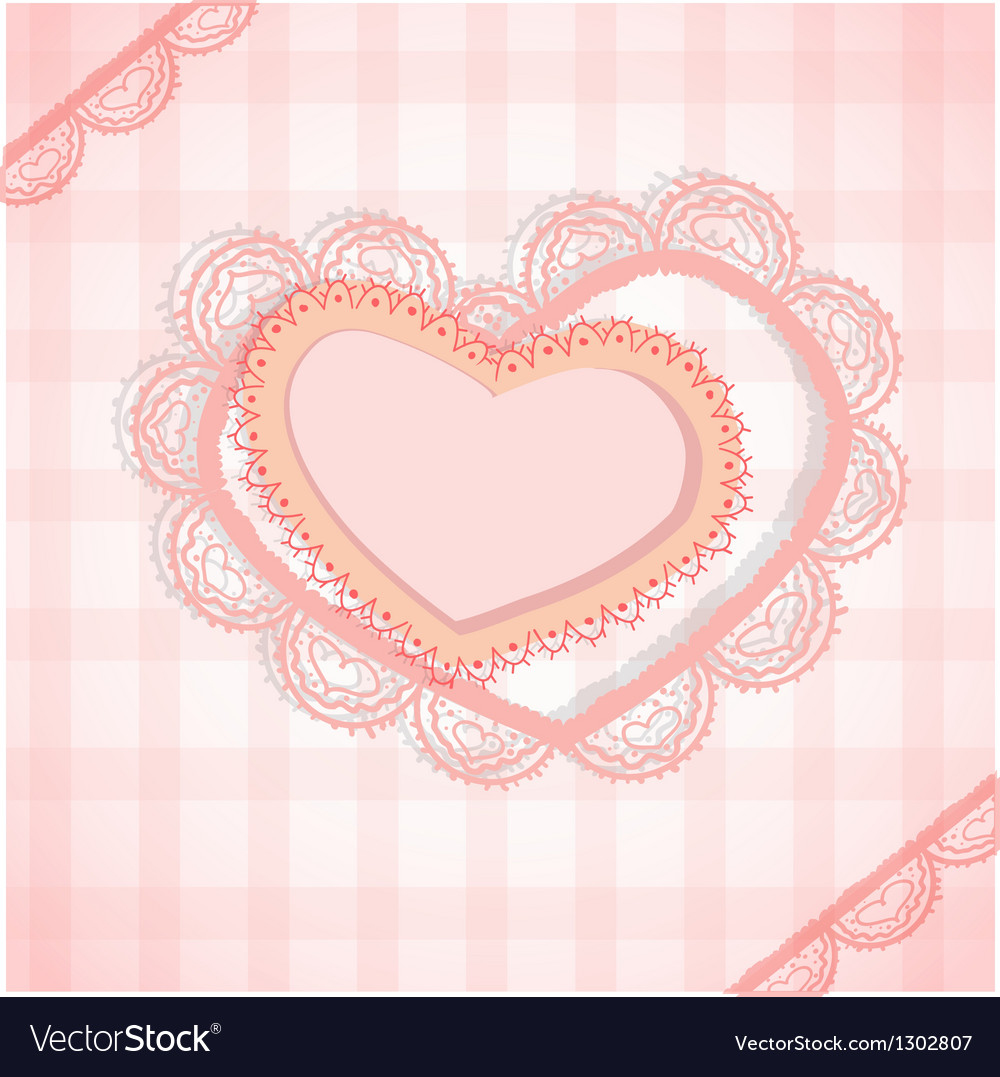 Pink checked background with two hearts vector | Price: 1 Credit (USD $1)