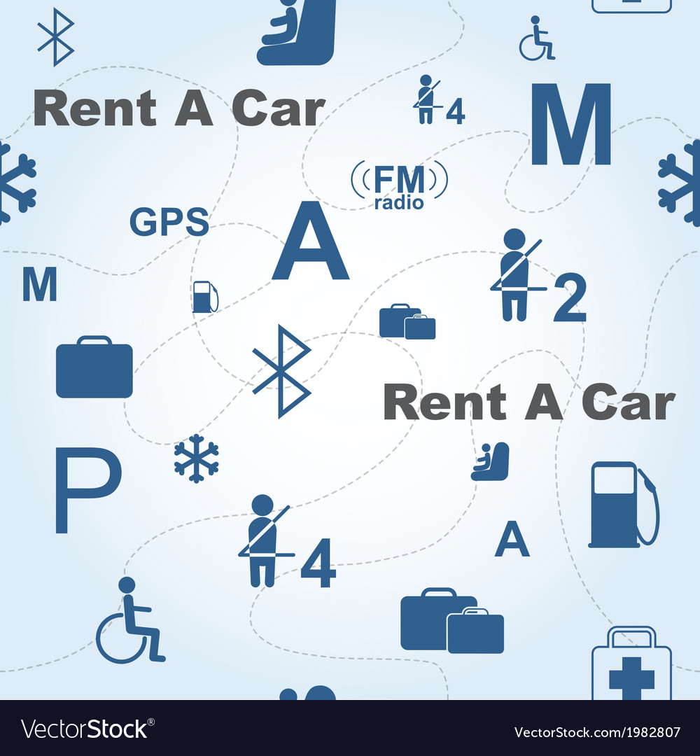 Rent a car seamless pattern vector | Price: 1 Credit (USD $1)