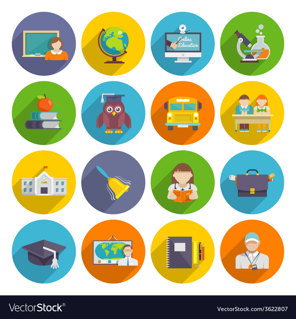School icon flat vector | Price: 1 Credit (USD $1)