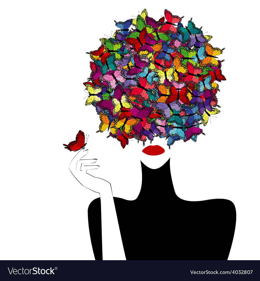 Stylized woman wiith colored butterflies on her vector | Price: 1 Credit (USD $1)