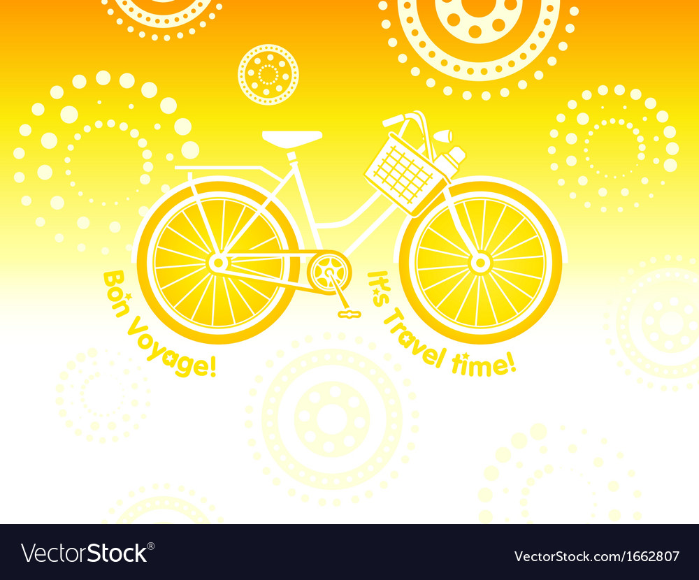 Travel bicycle postcard vector | Price: 1 Credit (USD $1)