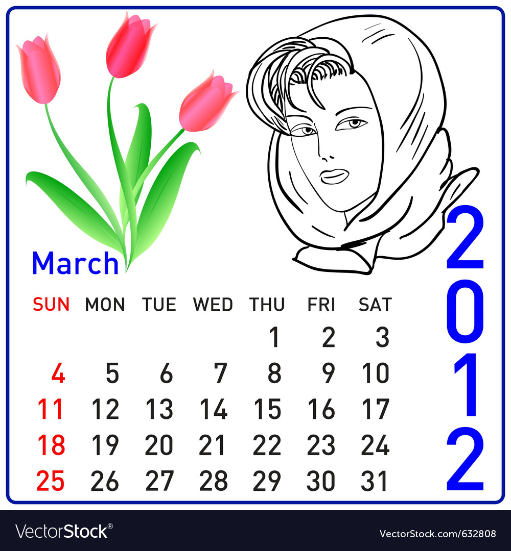 2012 year calendar in march vector | Price: 1 Credit (USD $1)