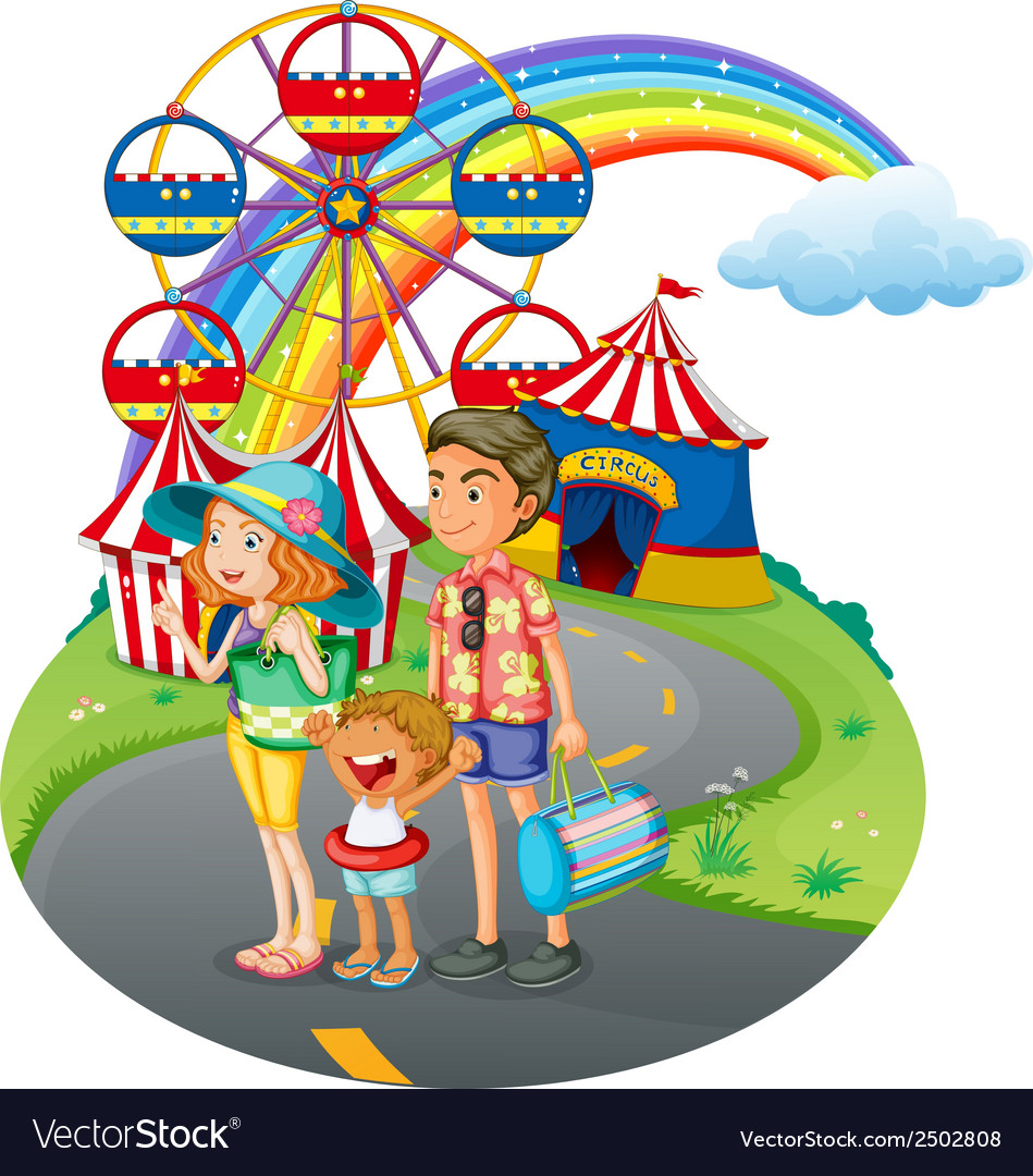 A family bonding at the carnival vector | Price: 1 Credit (USD $1)