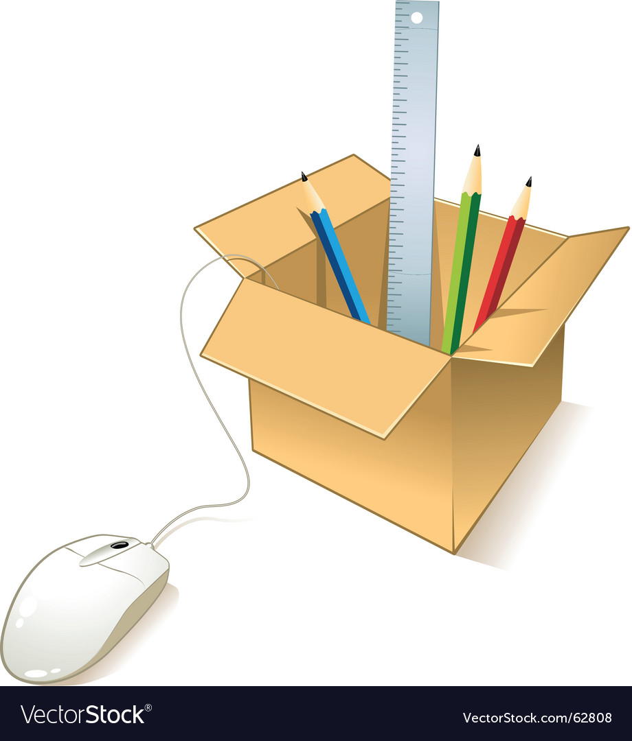 Box with objects vector | Price: 1 Credit (USD $1)