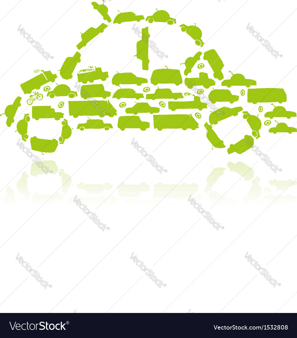 Car shape made from transport for your design vector | Price: 1 Credit (USD $1)
