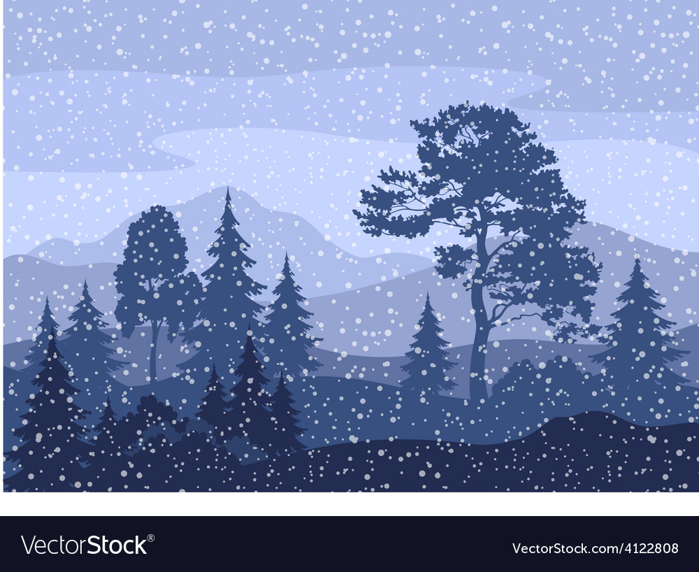 Christmas winter mountain landscape vector | Price: 1 Credit (USD $1)