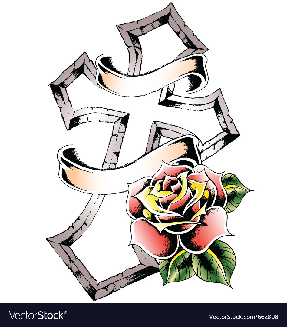Cross rose emblem vector | Price: 1 Credit (USD $1)