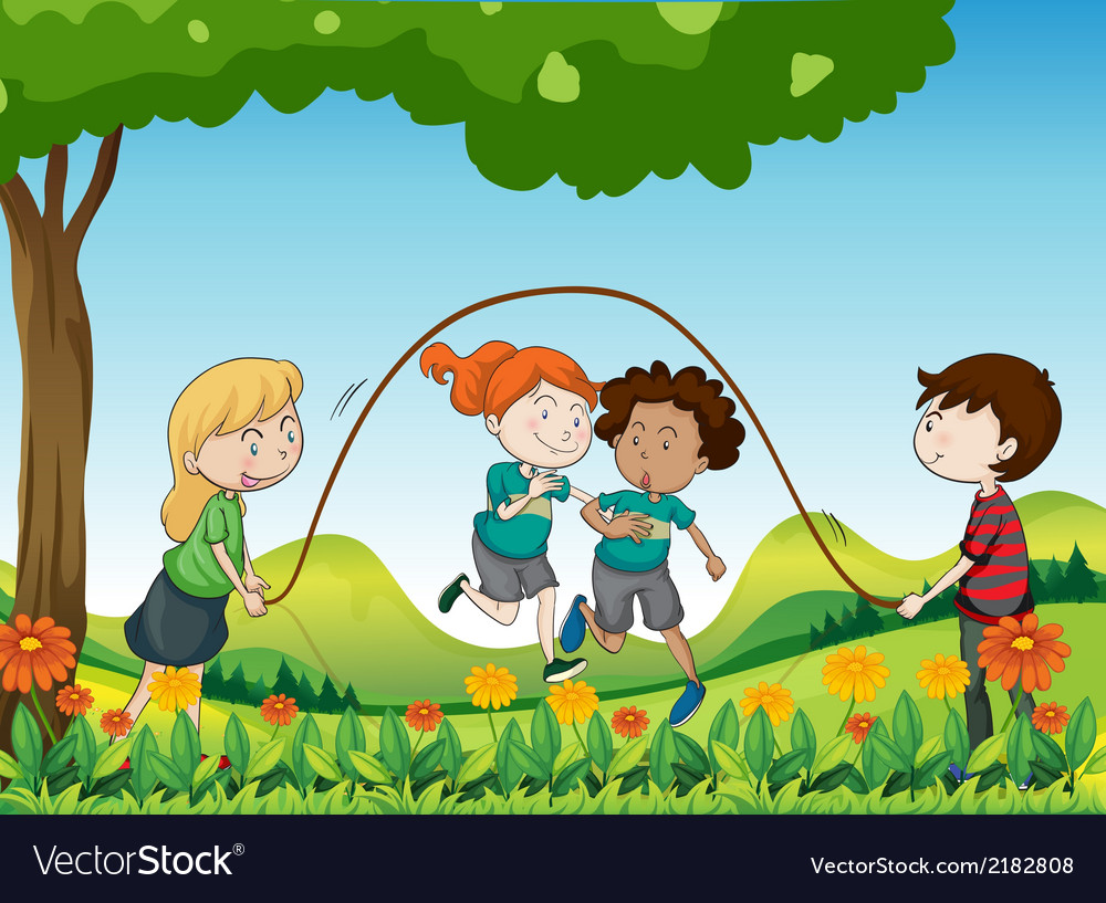 Four kids playing under the tree vector | Price: 3 Credit (USD $3)