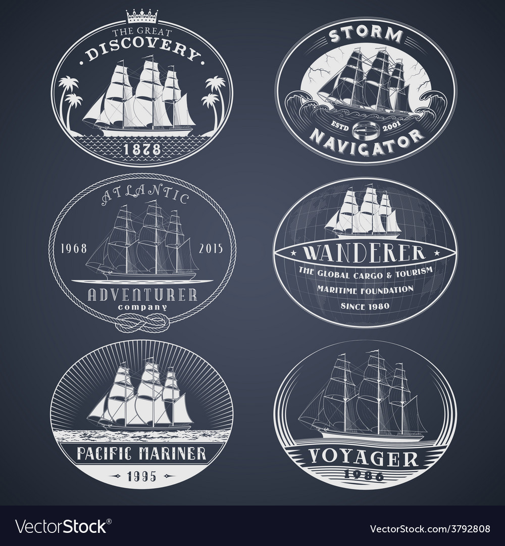 Nautical labels white vector | Price: 1 Credit (USD $1)