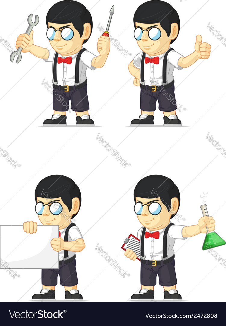 Nerd boy customizable mascot 17 vector | Price: 1 Credit (USD $1)