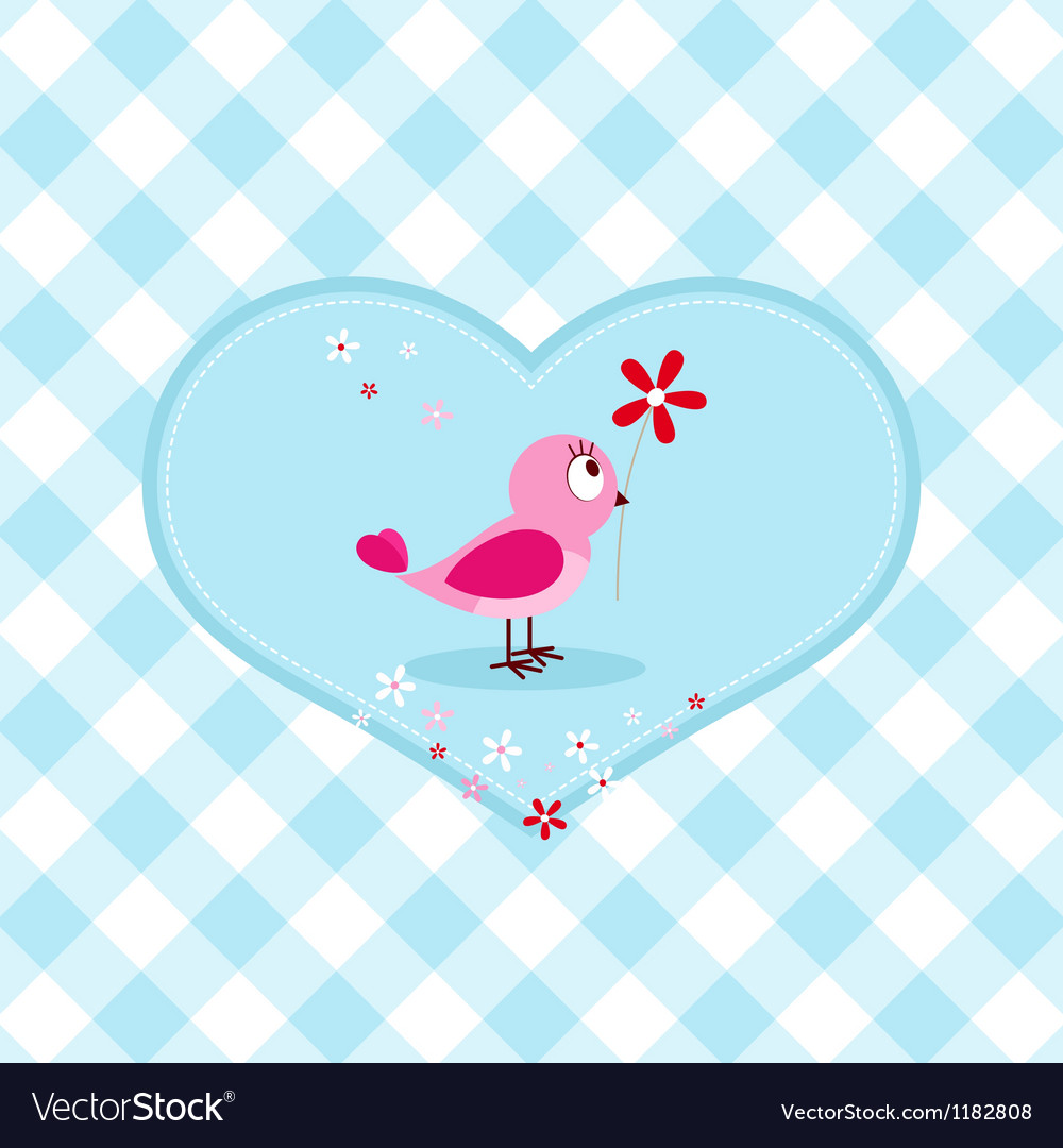 Pink bird with red flower vector | Price: 1 Credit (USD $1)
