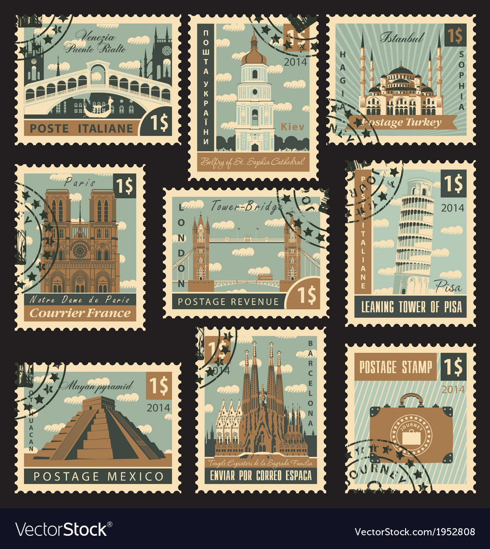 Postage stamp city vector | Price: 3 Credit (USD $3)
