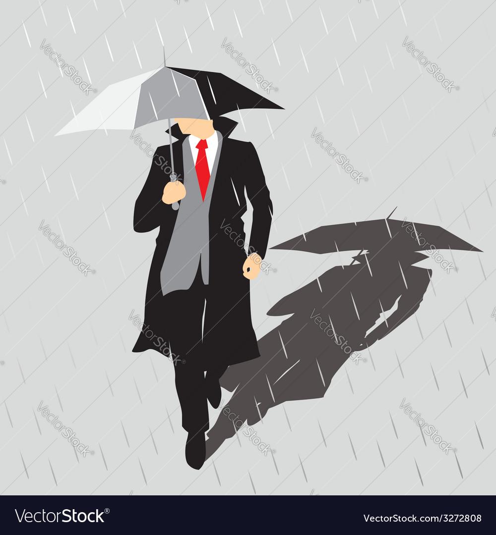 Rain man with umbrella vector | Price: 1 Credit (USD $1)