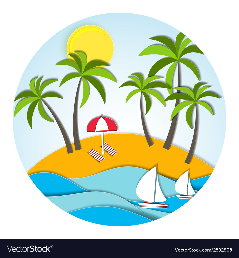 Round sunny landscape in paper style vector | Price: 1 Credit (USD $1)