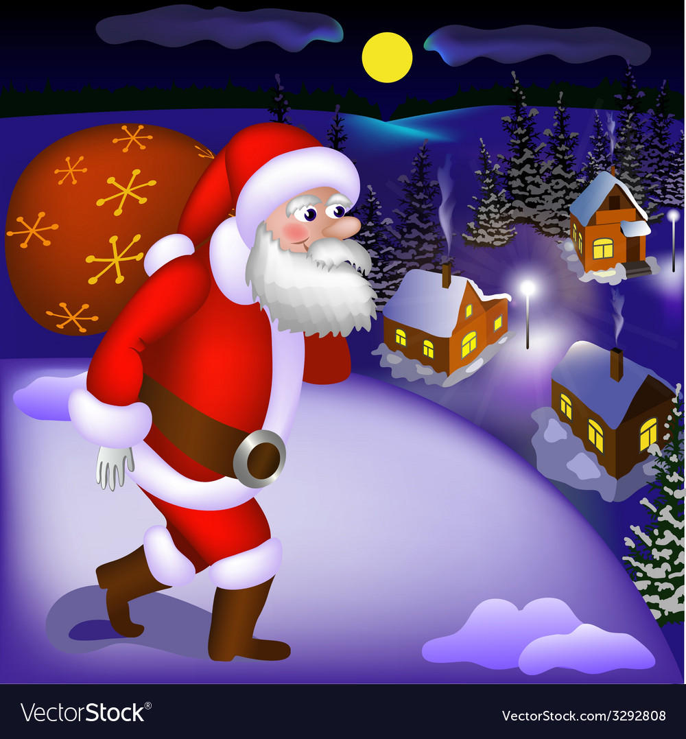 Santa claus coming with gifts vector | Price: 3 Credit (USD $3)