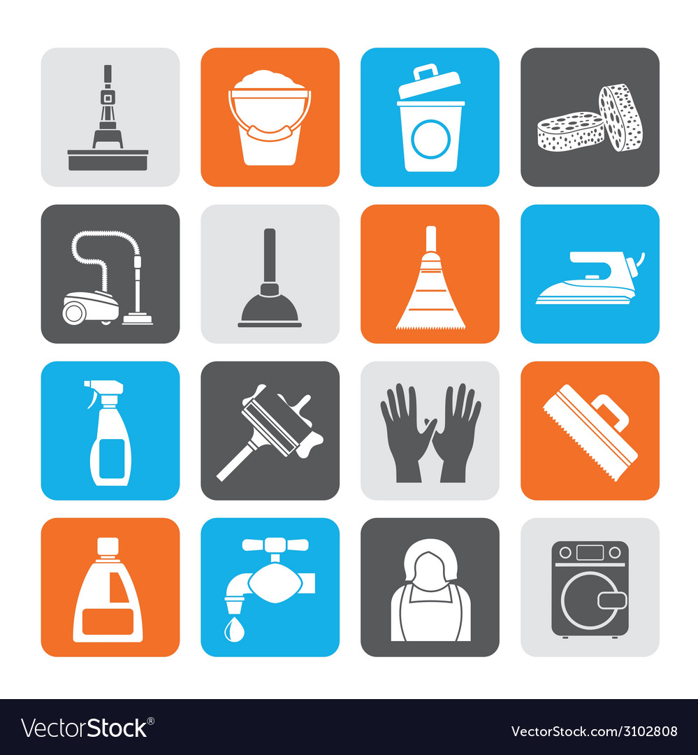 Silhouette cleaning and hygiene icons vector | Price: 1 Credit (USD $1)